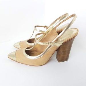Coach Frankie Gold Pointed Toe Slingback Pumps